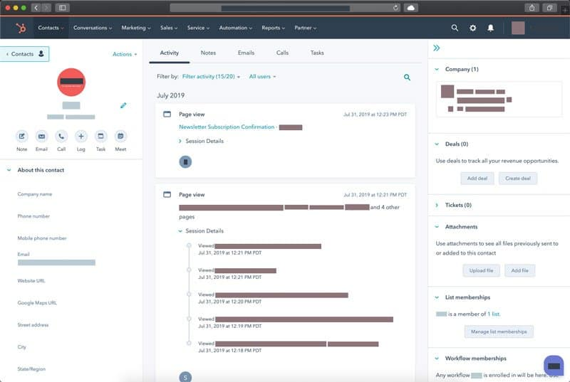 HubSpot Contact Record Page Views