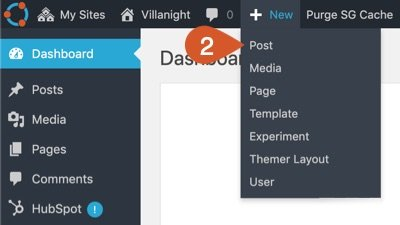 Hover over the New link on the top bar in the admin dashboard and then click the Post option.