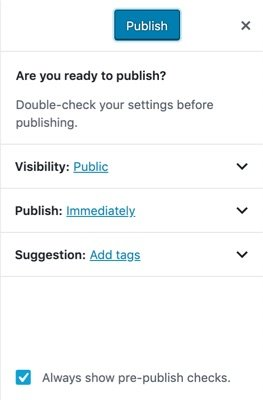 The pre-publish checks to check settings before publishing a post. It also gives suggestions.