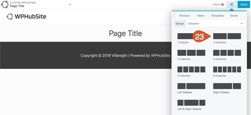 WPHubSite Site Builder add new row drop-down.