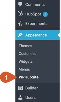WPHubSite WordPress admin dashboard Appearance > WPHubSite