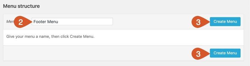 Name the footer menu then click create menu button.