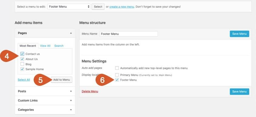 Add pages to the footer menu and set the location to footer menu.