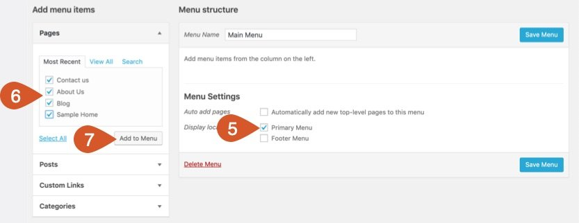 Add pages to the menu and set menu display location.