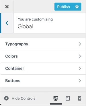 WPHubSite WordPress Theme Customizer global settings.