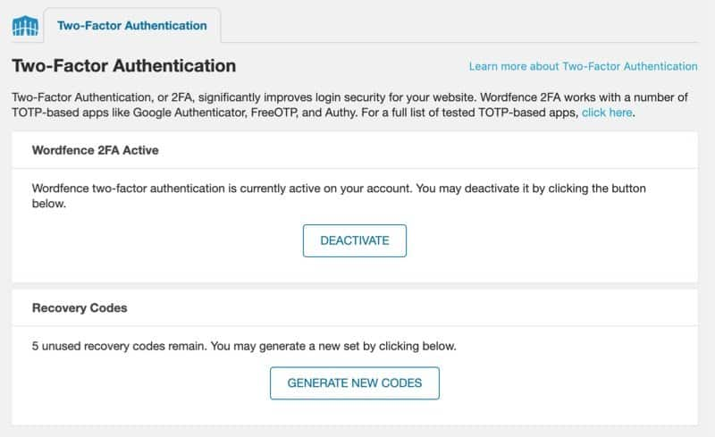 Two-Factor Authentication shown enabled with the option to deactivate it or generate new recovery codes.