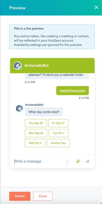 Preview of the chatbot inside HubSpot.