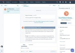 Sample chat from the HubSpot browser app.