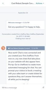 Example chat from the HubSpot iOS app.