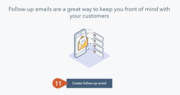 HubSpot create follow-up email screen