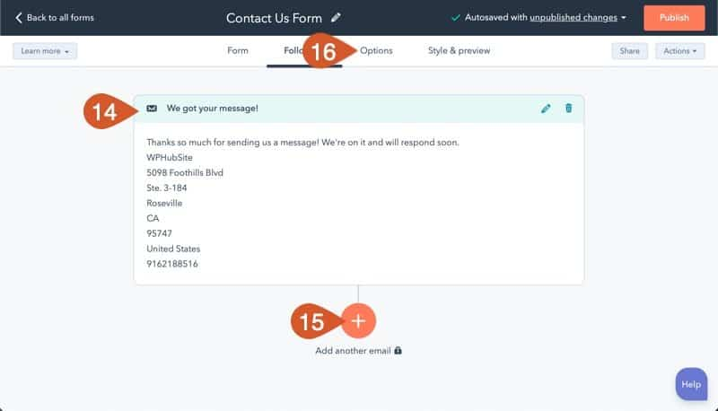 Create more HubSpot follow-emails or go to Options.