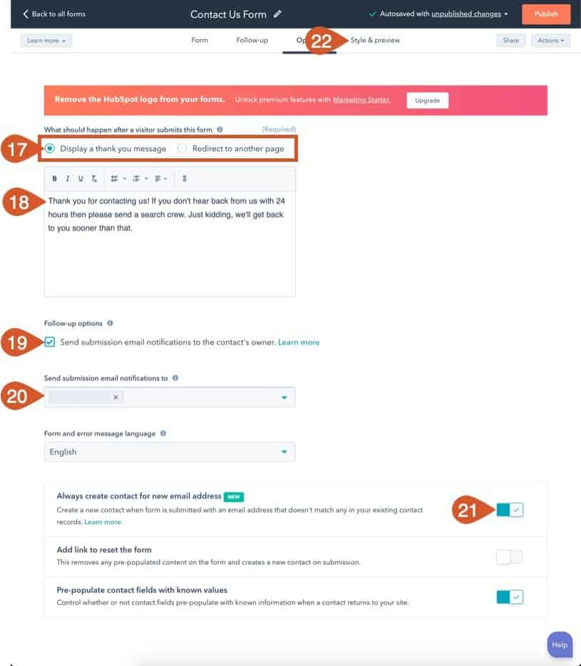 Customize the options for your HubSpot Form.