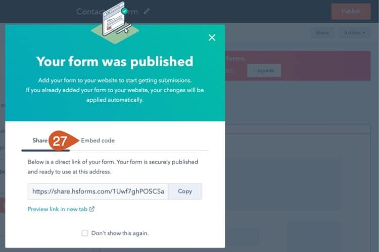 Choose the embed code option on the form.
