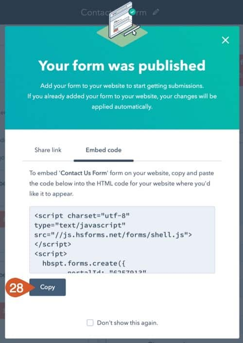 Click the Copy button to copy the embed code.