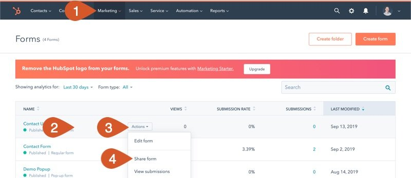 Access the HubSpot Form section to get the embed code for a form already published.