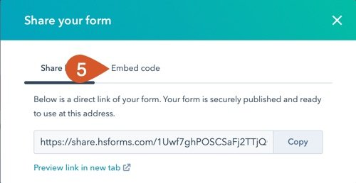 Click the embed code tab.