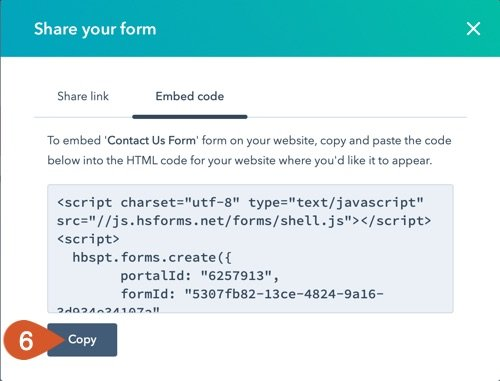 Copy the embed code with the copy button.