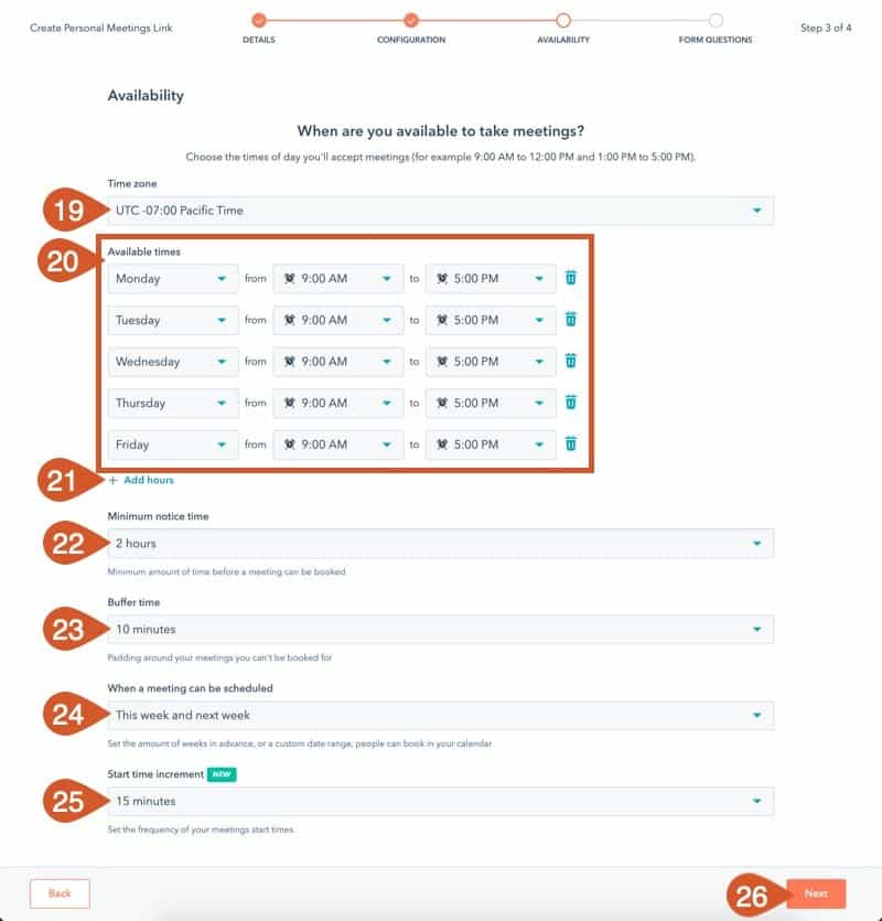 Complete the HubSpot Meeting availability settings.