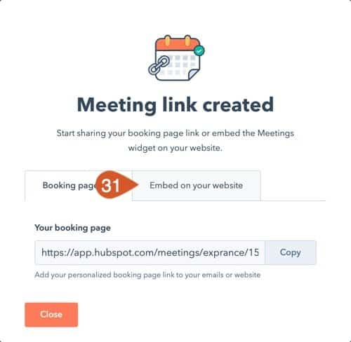 Open the embed tab once the HubSpot Meeting is published.