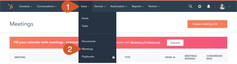 Open the Meetings section in HubSpot Sales.