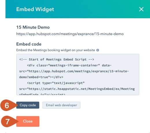 Copy the HubSpot Meeting embed code.