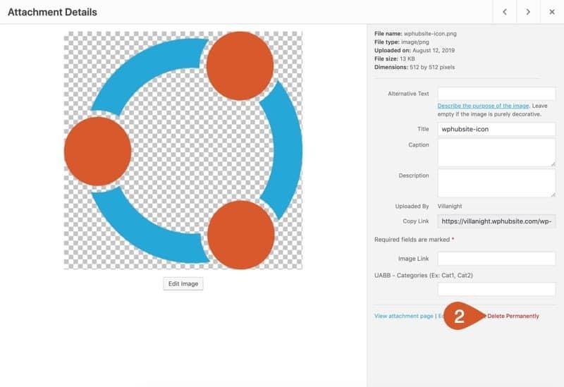 Delete a single media file in grid view of WordPress.