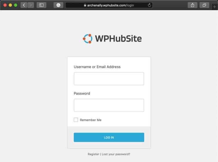 WPHubSite login screen.