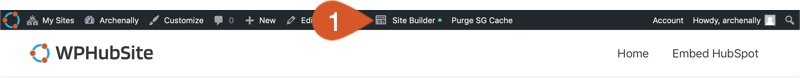 Open the Site Builder from a WPHubSite page.