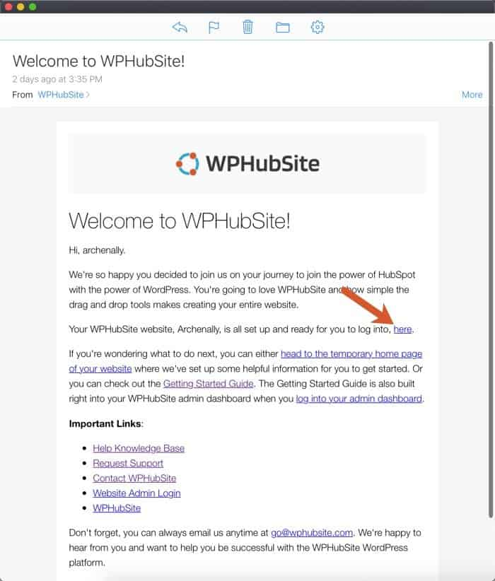 WPHubSite sign up welcome email with sign in link pointed out.