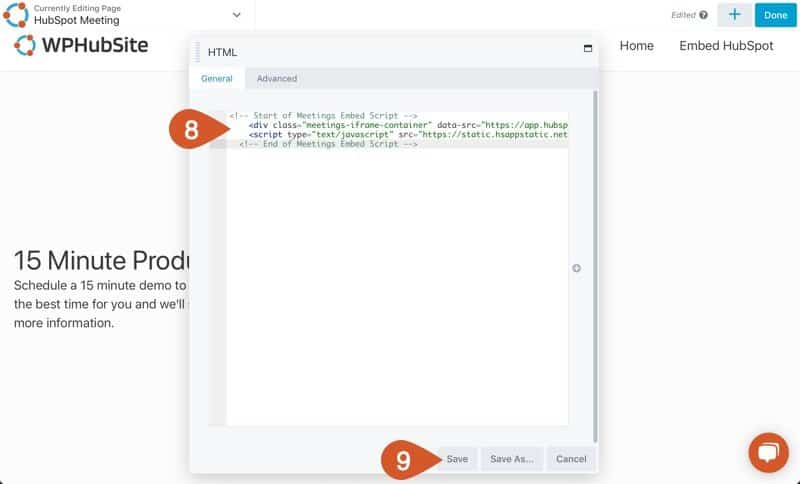 Paste the HubSpot Meeting embed code into the HTML box and save it.