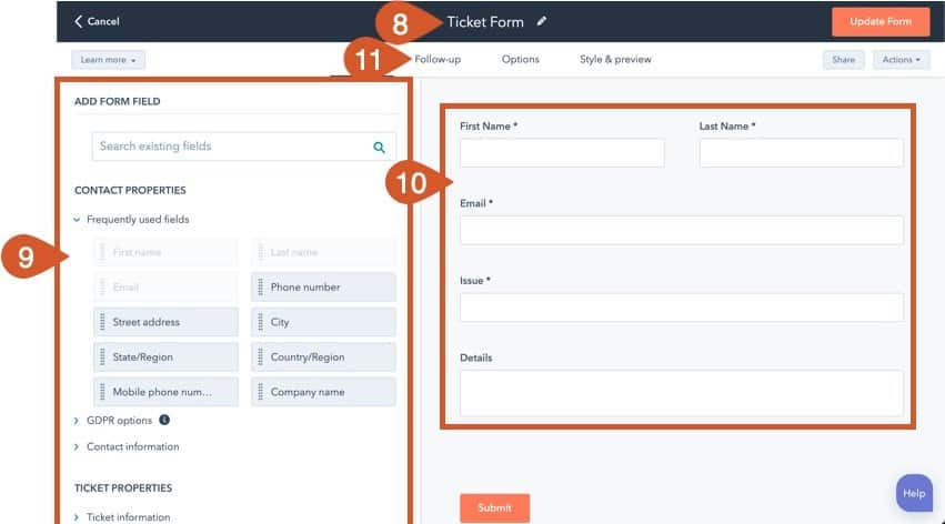 Complete the new ticket form general tab settings.