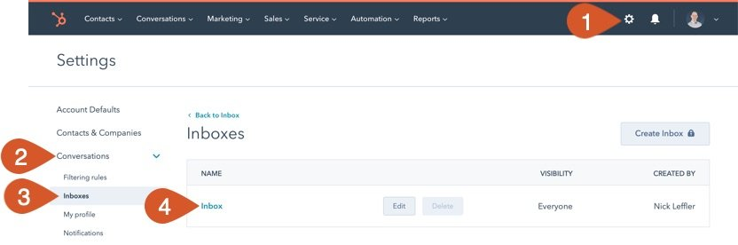 Access HubSpot inboxes settings.