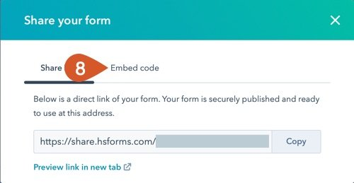 Click on the Embed code tab.