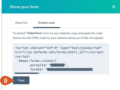 Click the Copy button to copy the HubSpot support form embed code.