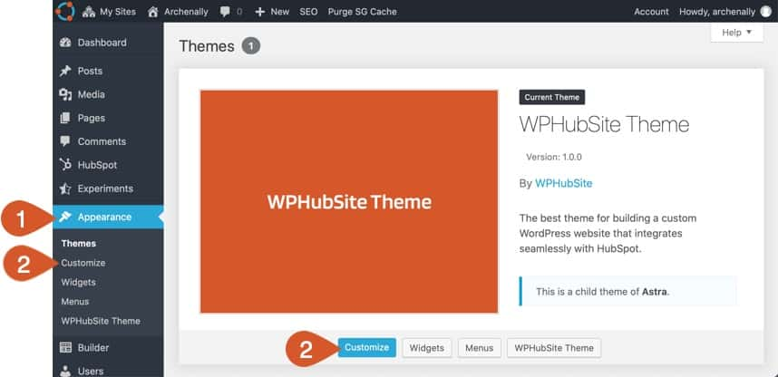 Access the WordPress customizer to customize Pro Modules.