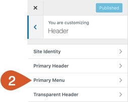 WordPress Customizer Primary Menu.