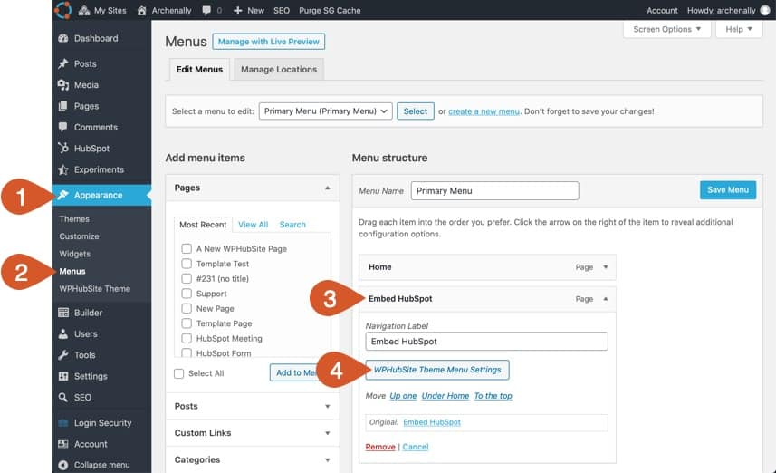 Open the mega menu settings in WordPress.