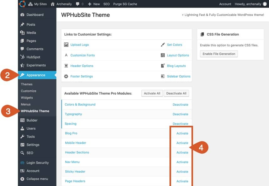 Activate WPHubsite Theme Pro Modules.