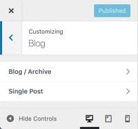 WordPress Customize Blog Options