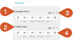 Customization options for blog/archive spacing.