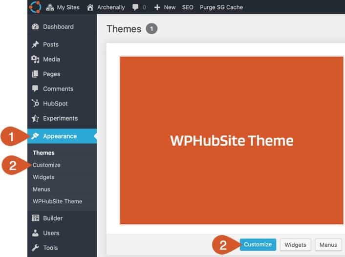 Open the WPHubSite WordPress Customizer.