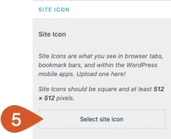 Select a site icon aka favicon.