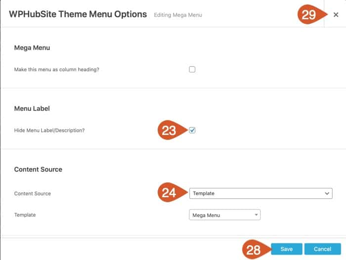 Set the options for the mega menu container.