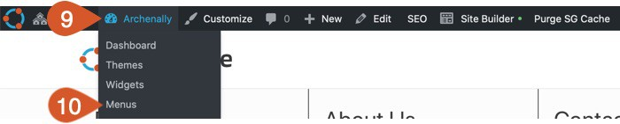 Hover over site name and click Menus.