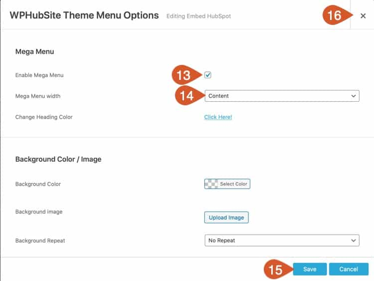 Configure mega menu options for Site Builder.