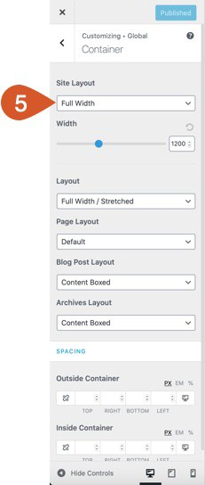 Select the desired site layout.