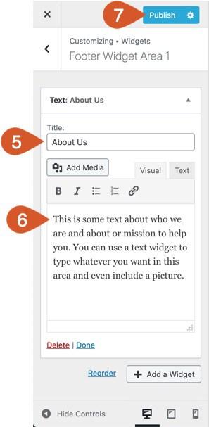 WPHubSite WordPress customizer widget customization.