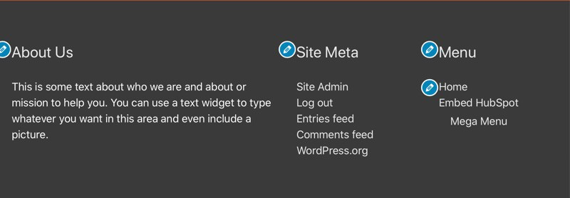 WPHubSite Theme custom widget layout set up completed.
