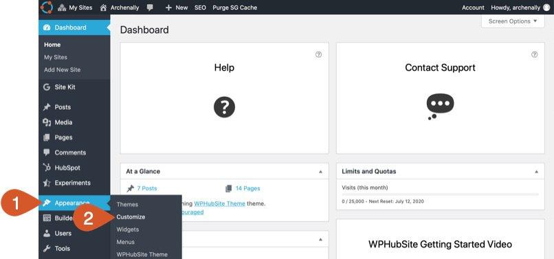 WPHubSite WordPress Customizer