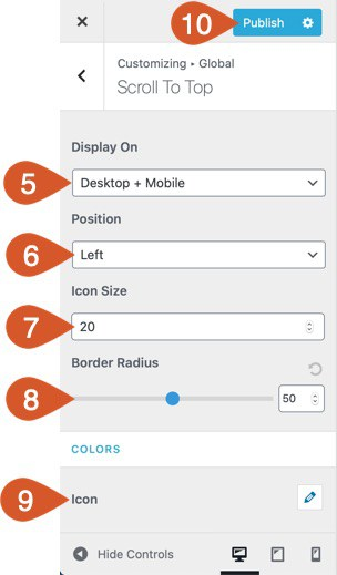 WPHubSite Theme Customizer Scroll To Top settings.